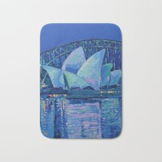 Sydney Opera House at Night - contemporary palette knife city landscape by Adriana Dziuba Bath Mat