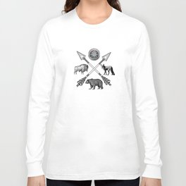 Crossed Arrows Compass Bison Fox Bear Long Sleeve T-shirt