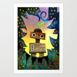 Robot in the Forest Art Print