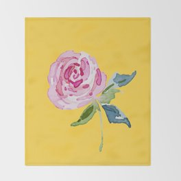 Watercolor Rose Throw Blanket
