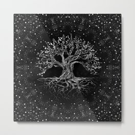 Tree of Life Drawing Black and White Metal Print