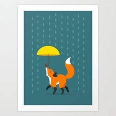 Happy as a Fox balancing an Umbrella in the Rain Art Print