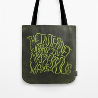internet Tote Bags featuring MYSTERIOUS INTERNET by Josh LaFayette