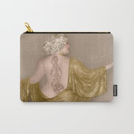 """""""Golden Goddess"""" - The Playful Pinup - Majestic Curvy Pin-up Beauty in Gold by Maxwell H. Johnson Carry-All Pouch"""