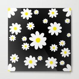 Spring Daisy Pattern Black White Metal Print