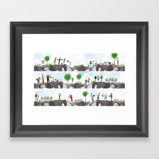 A DAY ON THE ALLOTMENT Framed Art Print