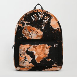 world map color splatter gold Backpack