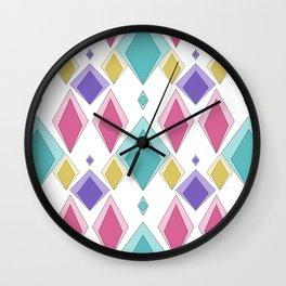 Multi-colored diamonds . Retro . Wall Clock