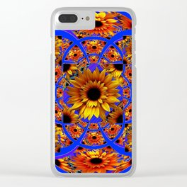 GOLD SUNFLOWERS & ROYAL BLUE PATTERN ART Clear iPhone Case