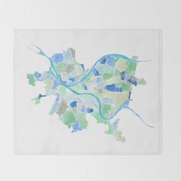 Pittsburgh Neighborhood Map Throw Blanket
