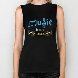 Music Is My 2nd Language Biker Tank