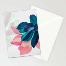Pink and Blue Leaf Stationery Cards