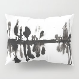 Foggy Morning at the forest abstract ink painting Pillow Sham