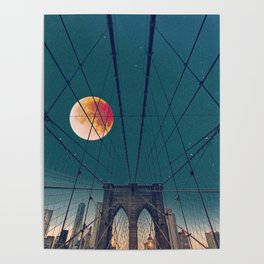 Blood Moon over the Brooklyn Bridge and New York City Poster