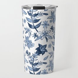 Monochrome Blue Alpine Flora Travel Mug