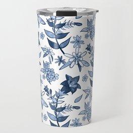 Monochrome Blue Alpine Flora Travel Mug