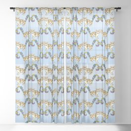 A Brown Cat Sprouting Flowers Sheer Curtain