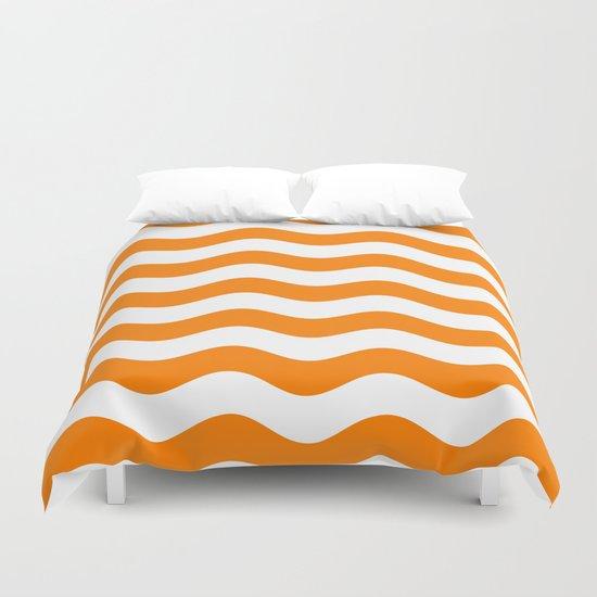Wavy Stripes (Orange/White) Duvet Cover