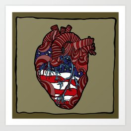 """Flag Heart"" - American Flag, Human Heart - Labor Day - www.davidjdiamant.com Art Print"