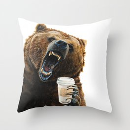 """"""" Grizzly Mornings """" give that bear some coffee Throw Pillow"""