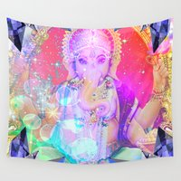 ganesh Wall Tapestries featuring GANESH RAINBOW by Riot Clothing