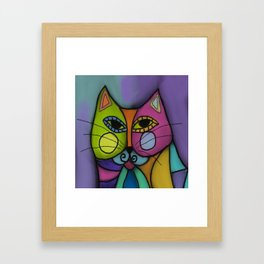 Calico Cat Colorful Abstract Digital Painting  Framed Art Print