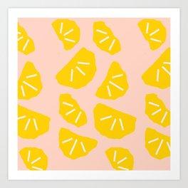 Modern abstract geometrical summer oranges pattern Art Print