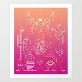 Santa Fe Garden – Pink Sunset Art Print
