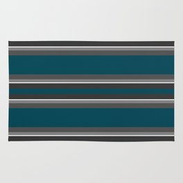 Striped turquoise and gray background Rug