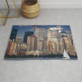 new york skyline manhattan hudson Rug