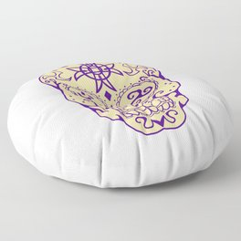 Mexican Skull  With Triskele and Celtic Cross Tattoo Floor Pillow