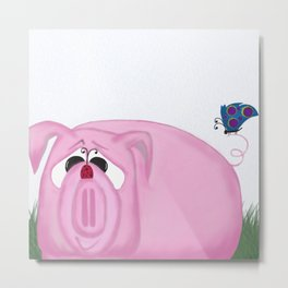 Chumley The Pig And His Visitors Metal Print