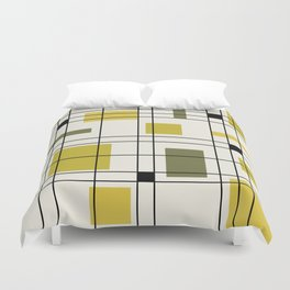 1950's Abstract Art Chartreuse Duvet Cover