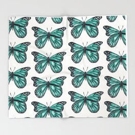 Turquoise Butterfly Throw Blanket