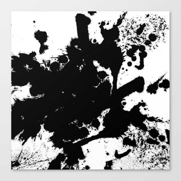 Black And White Splat Abstract Black Paint Splatter Painting Canvas Print By Printpix