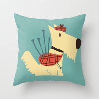 terrier Throw Pillows featuring Scottish  Terrier - My Pet by Picomodi