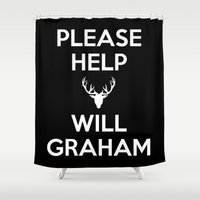 will graham Shower Curtains featuring Please Help Will Graham by Paige Thulin