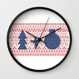 Geometric Christmas Pattern Wall Clock