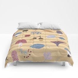 Geometrical brown blue autumn leaves mushroom stripes pattern Comforters