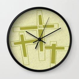 Three Crosses on Calvary. Wall Clock
