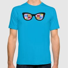 Square Eyes on Grey Mens Fitted Tee Teal MEDIUM