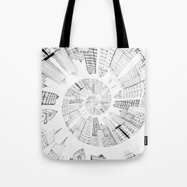 black and white city spiral digital painting Tote Bag