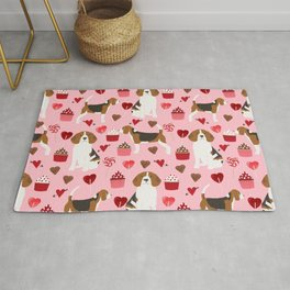 Beagle valentines day cupcakes heart love dog breed must have gifts Rug