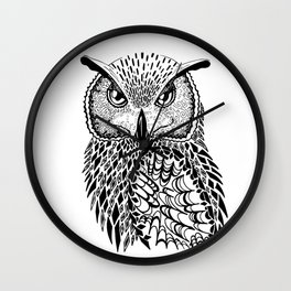Flustered Owl Zentangle (abstract Wall Clock