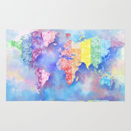 world map floral collage 2 Rug