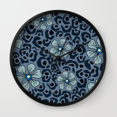 Blue animal print floral Wall Clock