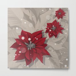 Poinsettias - Christmas flowers | BG Color I Metal Print