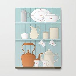 Vintage Kitchen Ilustration Metal Print
