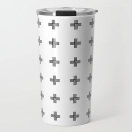 Geometric Swiss Cross Pattern Travel Mug