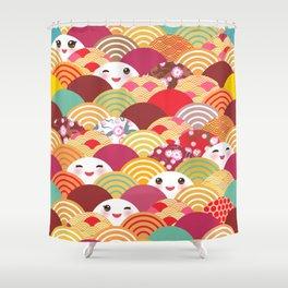Kawaii Nature background with japanese sakura flower, wave pattern Shower Curtain
